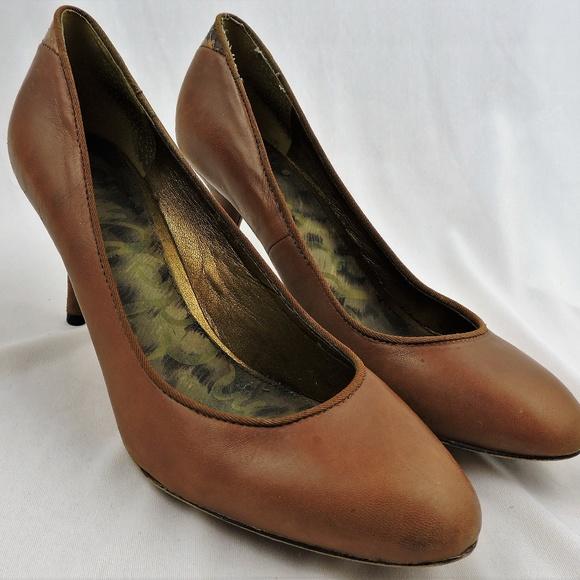 46137ca51a6 High heels slim pump brown leather snake Fiorenza